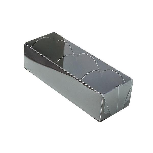Caixa para 3 Doces com Tampa Transparente Nº 3 Marrom - 12cm x 4,5cm x 3,5cm - 10 unidades Assk Rizzo Confeitaria
