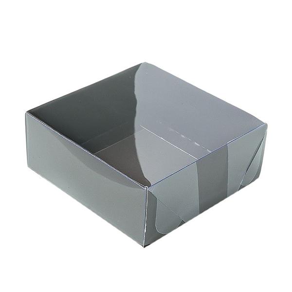 Caixa para 4 Doces com Tampa Transparente Nº 4 Marrom - 8cm x 8cm x 3,5cm - 10 unidades Assk Rizzo Confeitaria