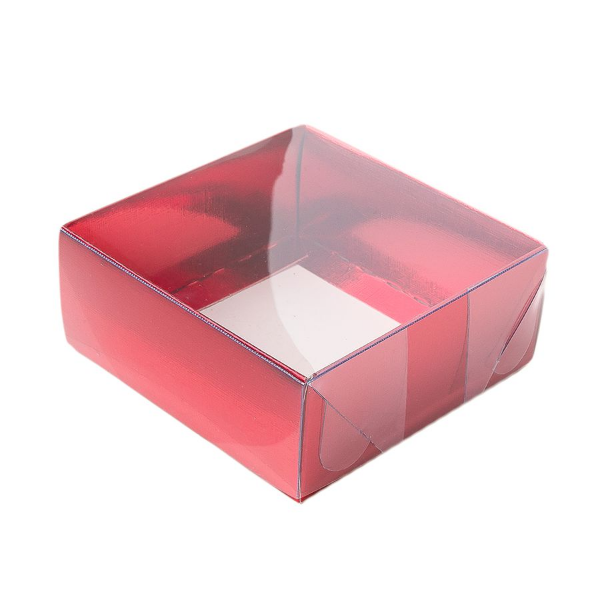 Caixa para 4 Doces com Tampa Transparente Nº 4 Vermelha - 8cm x 8cm x 3,5cm - 10 unidades Assk Rizzo Confeitaria