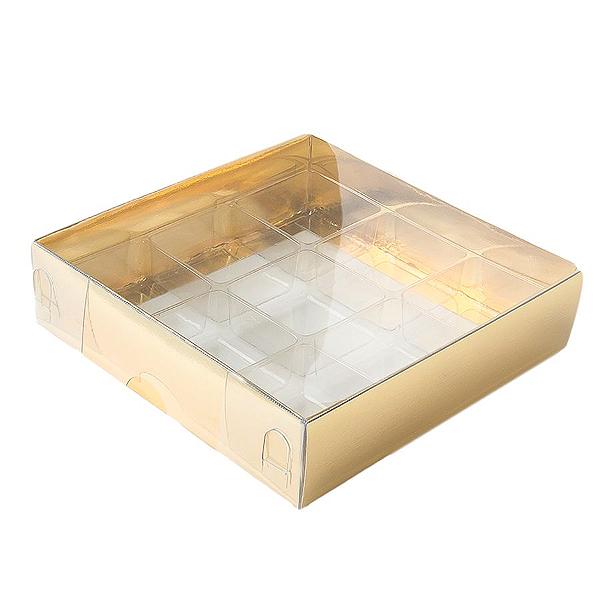 Caixa para 9 Doces com Berço Tampa Transparente Nº 6 Dourada - 11,5cm x 11,5cm x 3cm - 10 unidades Assk Rizzo Confeitaria