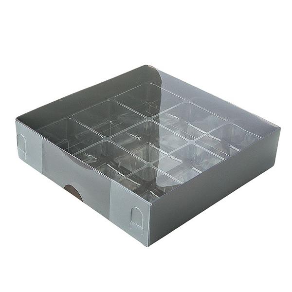 Caixa para 9 Doces com Berço Tampa Transparente Nº 6 Marrom - 11,5cm x 11,5cm x 3cm - 10 unidades Assk Rizzo Confeitaria