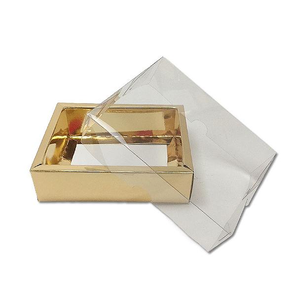 Caixa com Tampa Transparente PVC Nº 5 Dourada - 9cm x 12cm x 4cm - 10 unidades Assk Rizzo Confeitaria