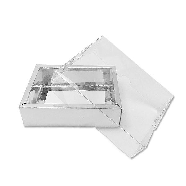 Caixa com Tampa Transparente PVC Nº 5 Prata - 9cm x 12cm x 4cm - 10 unidades Assk Rizzo Confeitaria