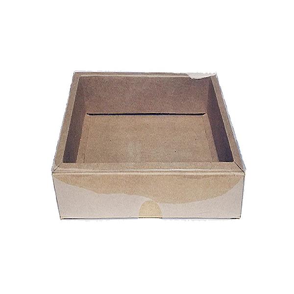 Caixa com Tampa Transparente PVC Nº 6 Kraft - 13cm x 13cm x 4cm - 10 unidades Assk Rizzo Confeitaria