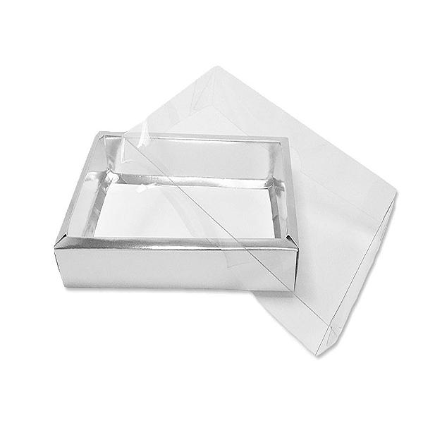 Caixa com Tampa Transparente PVC Nº 6 Prata - 13cm x 13cm x 4cm - 10 unidades Assk Rizzo Confeitaria