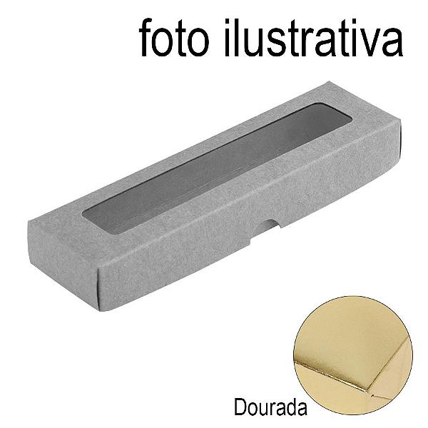 Caixa de Papel com Visor S00 (4cm x 15,5cm x 2cm) Dourada 10 unidades Assk Rizzo Confeitaria
