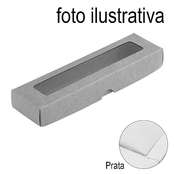 Caixa de Papel com Visor S00 (4cm x 15,5cm x 2cm) Prata 10 unidades Assk Rizzo Confeitaria