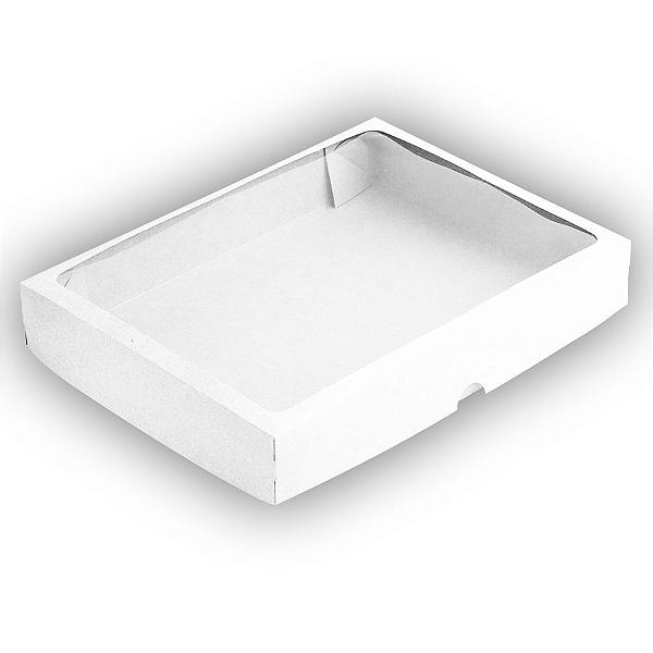 Caixa de Papel com Visor S10 (22cm x 29cm x 4,5cm) Branca 10 unidades Assk Rizzo Confeitaria