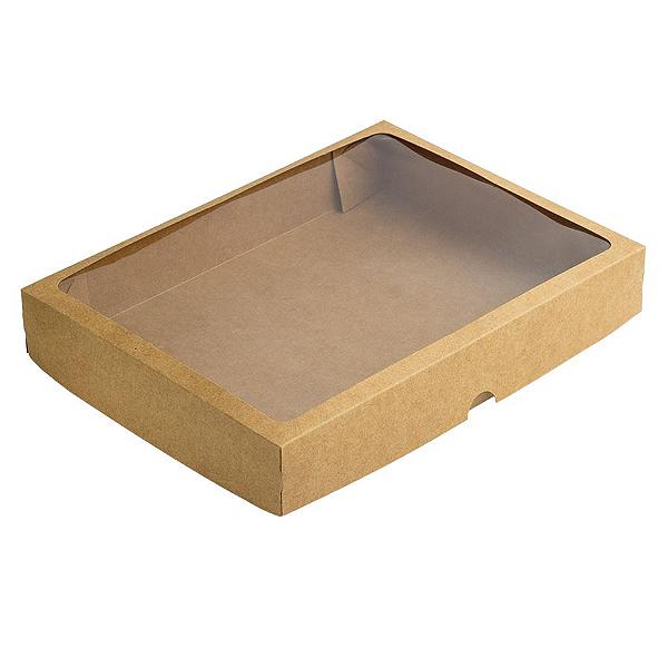 Caixa de Papel com Visor S10 (22cm x 29cm x 4,5cm) Kraft 10 unidades Assk Rizzo Confeitaria
