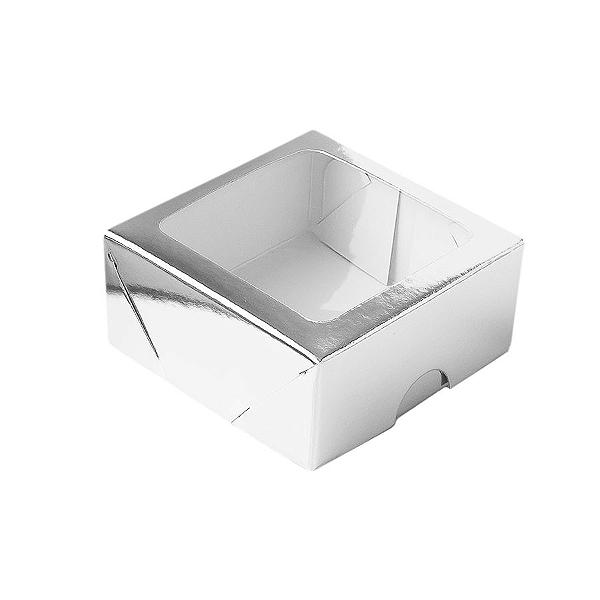 Caixa de Papel com Visor S16 (7cm x 7cm x 3cm) Prata 10 unidades Assk Rizzo Confeitaria