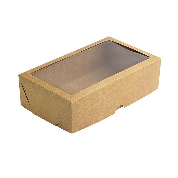 Caixa de Papel com Visor S20 (22cm x 11,7cm x 4,5cm) Kraft 10 unidades Assk Rizzo Confeitaria