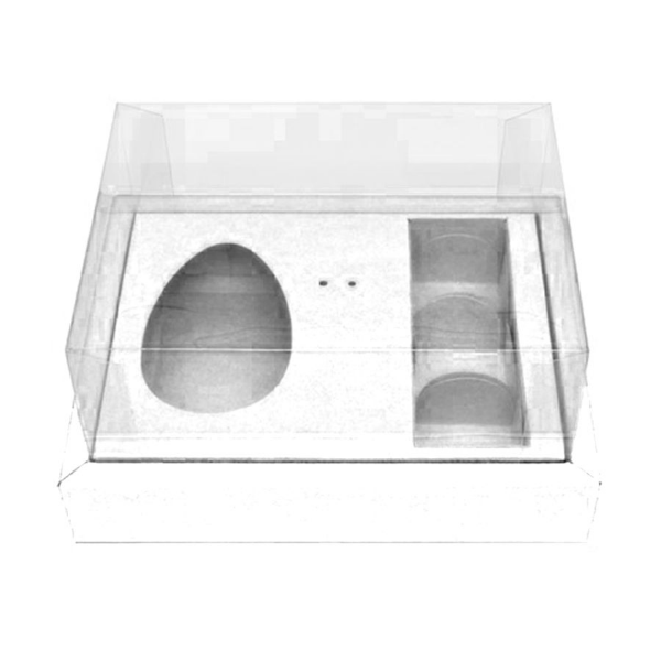 Caixa Ovo de Colher com Moldura 3 Bombons - Meio Ovo de 100g a 150g - 20cm x 15cm x 10cm - Branca - 5unidades - Assk - Páscoa Rizzo Confeitaria