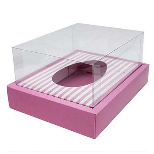 Caixa Ovo de Colher com Moldura - Meio Ovo de 350g - 23cm x 19cm x 10cm - Rosa Listras - 5unidades - Assk - Páscoa Rizzo Confeitaria