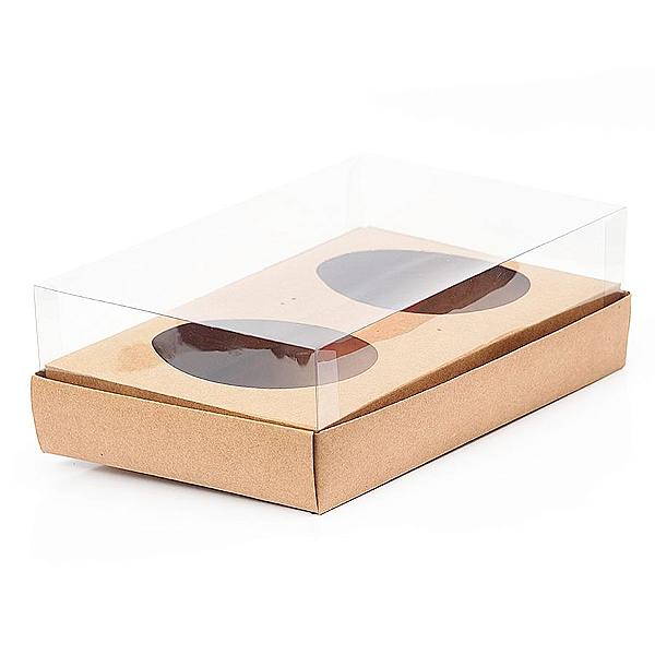 Caixa Ovo de Colher Duplo - Meio Ovo de 100g a 150g - 20cm x 13cm x 8,8cm - Kraft - 5unidades - Assk - Páscoa Rizzo Confeitaria