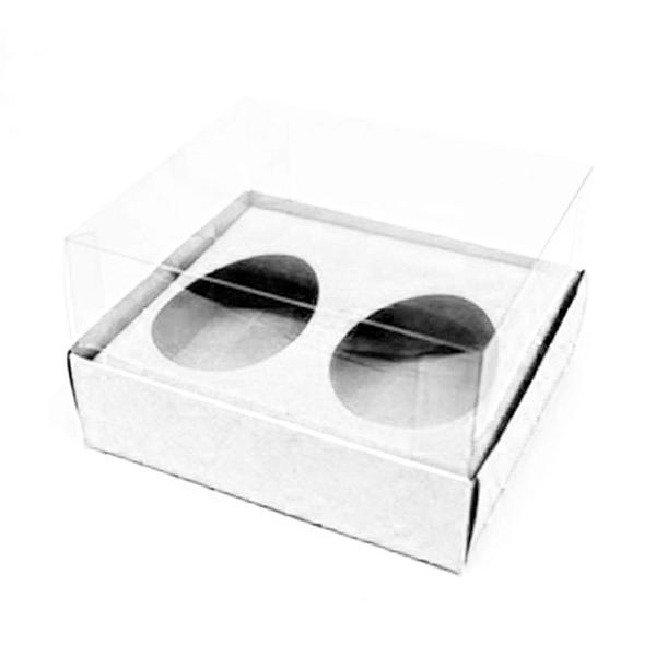 Caixa Ovo de Colher Duplo - Meio Ovo de 50g - 10cm x 10cm x 4cm - Branca - 5unidades - Assk - Páscoa Rizzo Confeitaria
