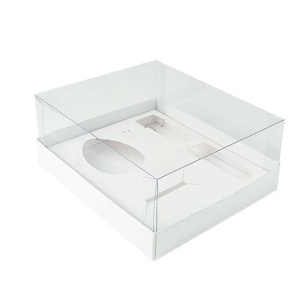 Caixa Ovo de Colher Kit Confeiteiro - Meio Ovo de 100g a 150g - 20,5cm x 17cm x 6,5cm - Branca - 5unidades - Assk - Páscoa Rizzo Confeitaria