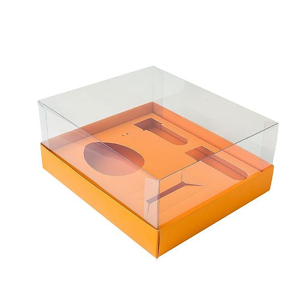 Caixa Ovo de Colher Kit Confeiteiro - Meio Ovo de 100g a 150g - 20,5cm x 17cm x 6,5cm - Laranja - 5unidades - Assk - Páscoa Rizzo Confeitaria