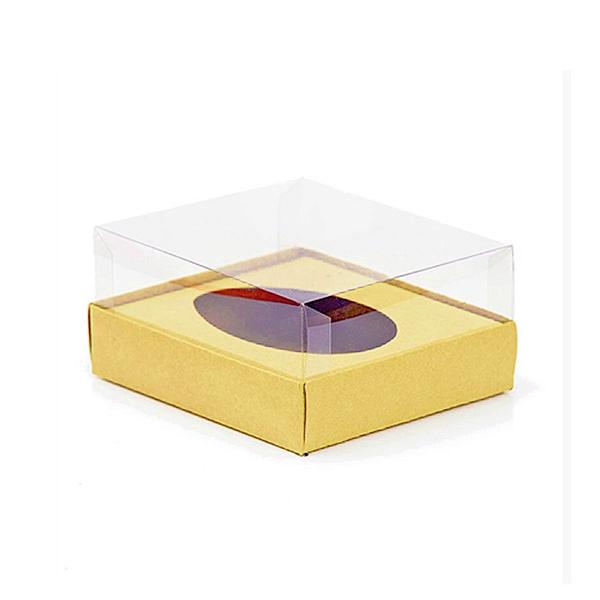Caixa Ovo de Colher - Meio Ovo de 100g a 150g - 11cm x 12,7cm x 7,5cm - Ouro - 5unidades - Assk - Páscoa Rizzo Confeitaria