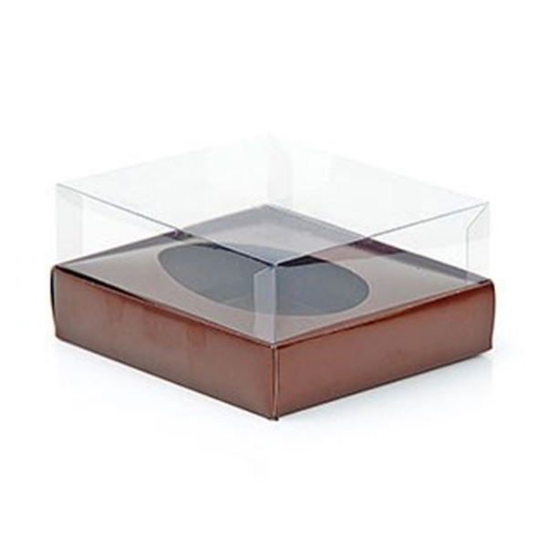Caixa Ovo de Colher - Meio Ovo de 250g - 15cm x 13cm x 6,5cm - Marrom - 5unidades - Assk - Páscoa Rizzo Confeitaria
