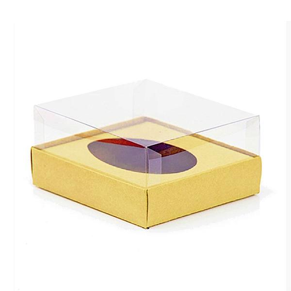 Caixa Ovo de Colher - Meio Ovo de 250g - 15cm x 13cm x 6,5cm - Ouro - 5unidades - Assk - Páscoa Rizzo Confeitaria