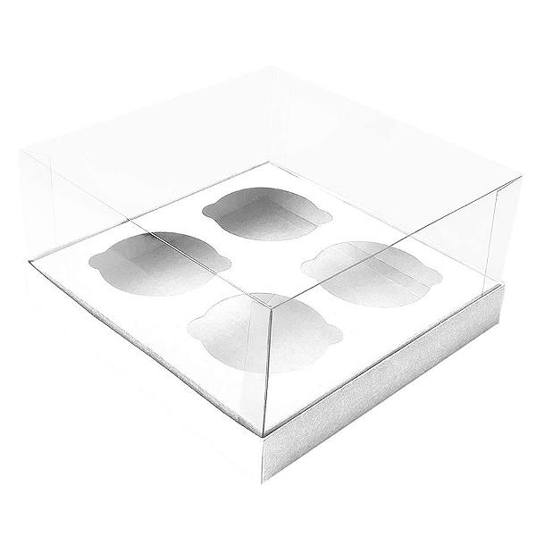 Caixa Cupcake com Tampa Transparente 4 Cavidades (17cm x 17cm x 8,5cm) Branca 10 unidades Assk Rizzo Confeitaria