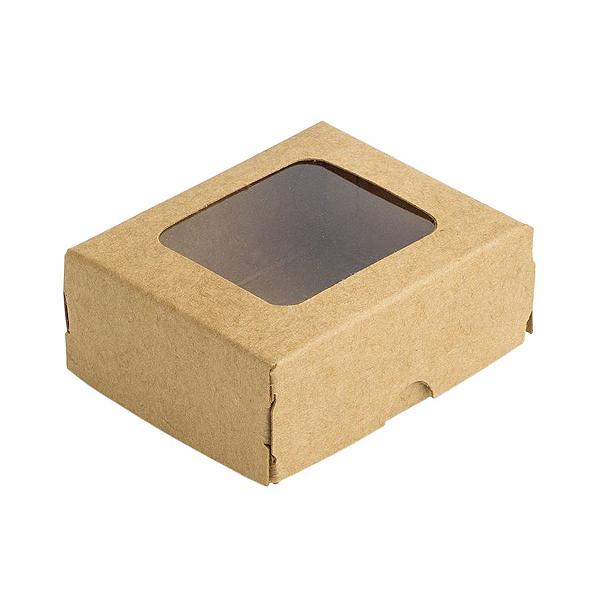 Caixa Doces com Visor S0 (6cm x 5cm x 2,5cm) Kraft 10 unidades Assk Rizzo Confeitaria