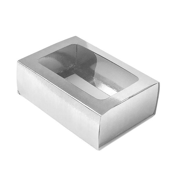 Caixa Gaveta com Visor Nº2 (8cm x 12cm x 4cm) Prata 10 unidades Assk Rizzo Confeitaria