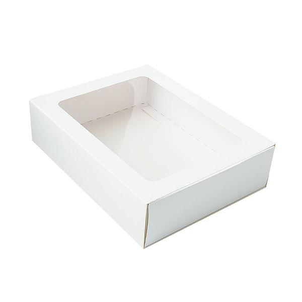 Caixa Gaveta com Visor Nº3 (12cm x 16cm x 4cm) Branca 10 unidades Assk Rizzo Confeitaria