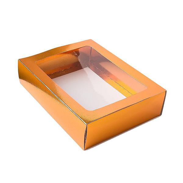 Caixa Gaveta com Visor Nº3 (12cm x 16cm x 4cm) Cobre 10 unidades Assk Rizzo Confeitaria