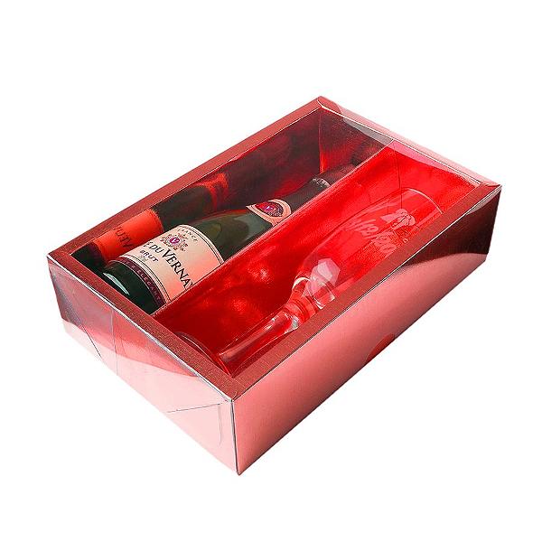 Caixa Mini Champanhe e Taça (20,5cm x 13cm x 6cm) Vermelha 5 unidades Assk Rizzo Confeitaria