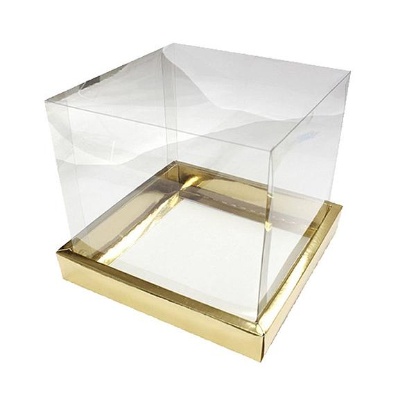 Caixa para Panetone 500g (15cm x 15cm x 15cm) Dourada 5 unidades Assk Rizzo Confeitaria