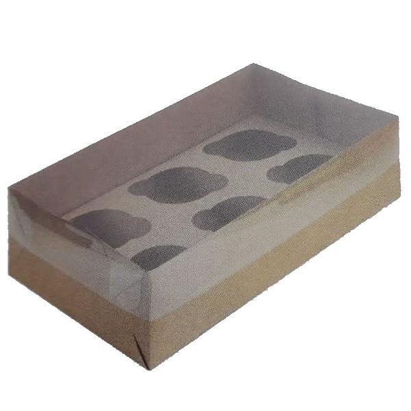 Caixa para Transporte 6 Cupcakes (30cm x 18cm x 8cm) Kraft 5 unidades Assk Rizzo Confeitaria