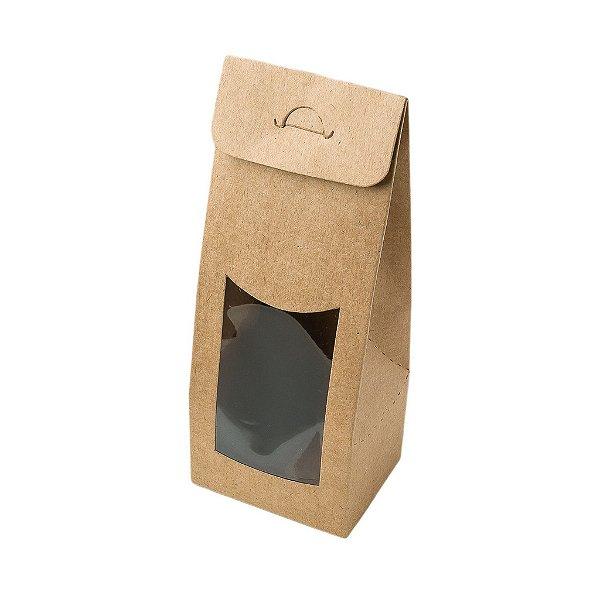 Caixa Sacolinha com Visor G (12cm x 23m x 6cm) Kraft 10 unidades Assk Rizzo Confeitaria