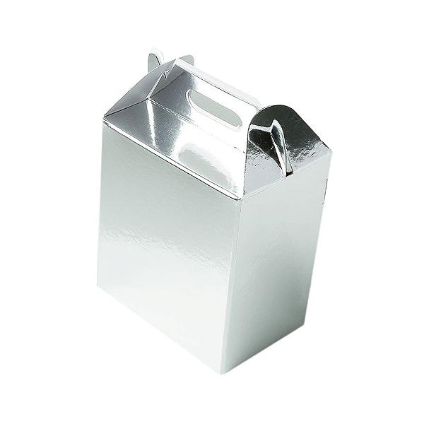 Caixa Sacolinha S2 (14cm x 11cm x 6cm) Prata 10 unidades Assk Rizzo Confeitaria