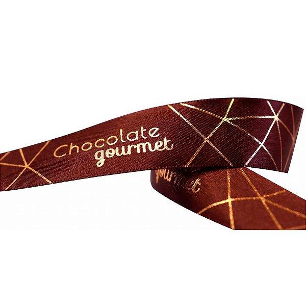 Fita de Cetim 22mmx10m Chocolate Gourmet Marrom com Ouro ECF005H 702 Progresso Rizzo Confeitaria