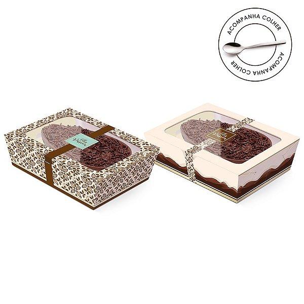Caixa Meio Ovo de Colher New Practice com Tampa de Plástico Chocolate Marfim - Estampas Sortidas - 6 unidades - Cromus Páscoa - Rizzo Confeitaria