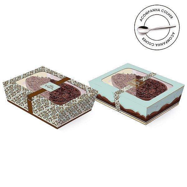 Caixa Meio Ovo de Colher New Practice com Tampa de Plástico Chocolate Turquesa - Estampas Sortidas - 6 unidades - Cromus Páscoa - Rizzo Confeitaria