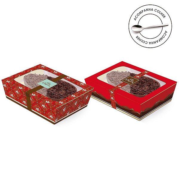 Caixa Meio Ovo de Colher New Practice com Tampa de Plástico Chocolate Vermelho - Estampas Sortidas - 6 unidades - Cromus Páscoa - Rizzo Confeitaria
