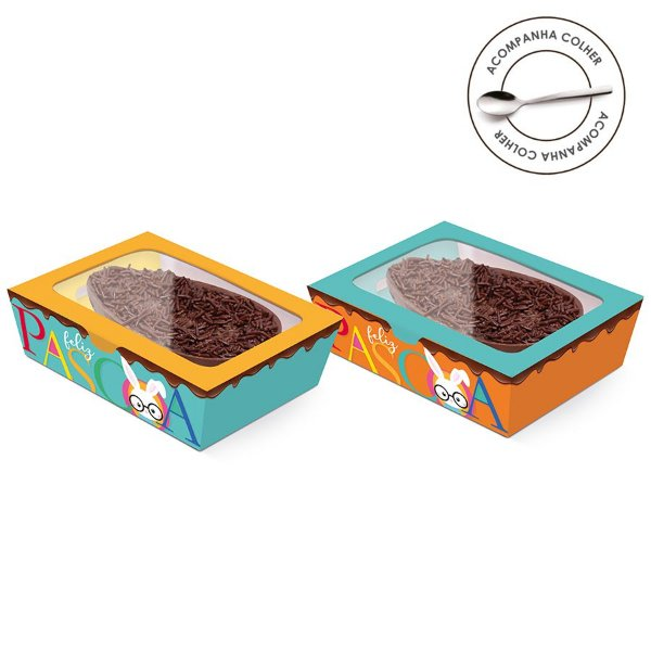 Caixa Meio Ovo de Colher New Practice com Tampa de Plástico Páscoa Cores - Estampas Sortidas - 6 unidades - Cromus Páscoa - Rizzo Confeitaria