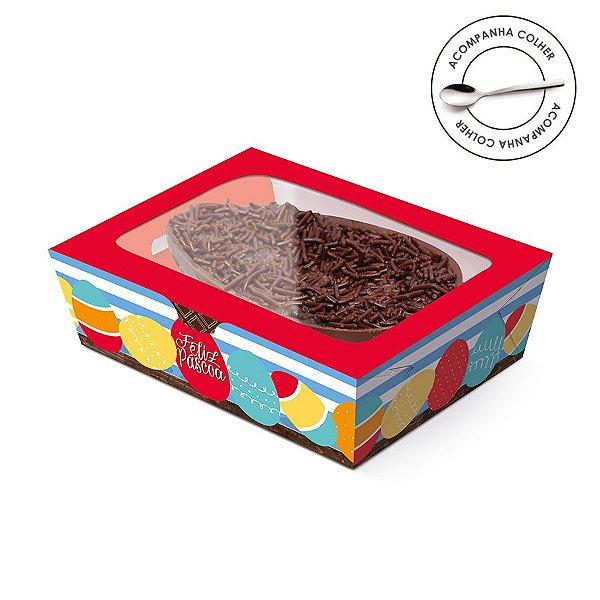 Caixa Meio Ovo de Colher New Practice com Tampa de Plástico Adoleta - 6 unidades - Cromus Páscoa - Rizzo Confeitaria