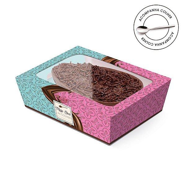 Caixa Meio Ovo de Colher New Practice com Tampa de Plástico Chocolatier - 6 unidades - Cromus Páscoa - Rizzo Confeitaria