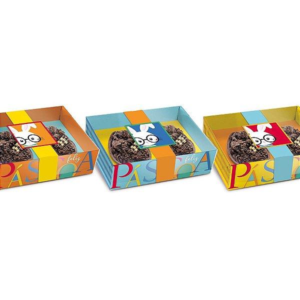 Caixa Dois Meio Ovo de Colher 50g New Practice Páscoa Cores - 6 unidades - 14,5cmx11cmx4cm - Cromus Páscoa - Rizzo Confeitaria