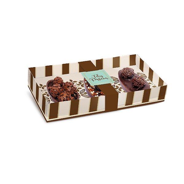 Caixa Três Meio Ovo de Colher 50g New Practice Chocolate Marfim - 6 unidades - 21,5cmx11cmx4cm - Cromus Páscoa - Rizzo Confeitaria