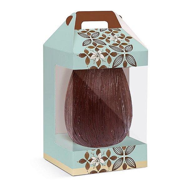 Caixa para Ovo em Pé com Visor Flor de Cacau Turquesa - 6 unidades - Cromus Páscoa - Rizzo Confeitaria