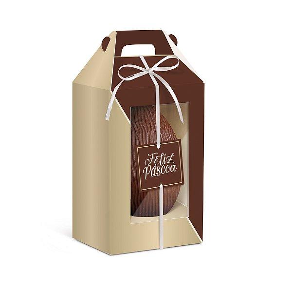 Caixa para Ovo em Pé com Visor Duplo Feliz Páscoa Ouro - 6 unidades - Cromus Páscoa - Rizzo Confeitaria