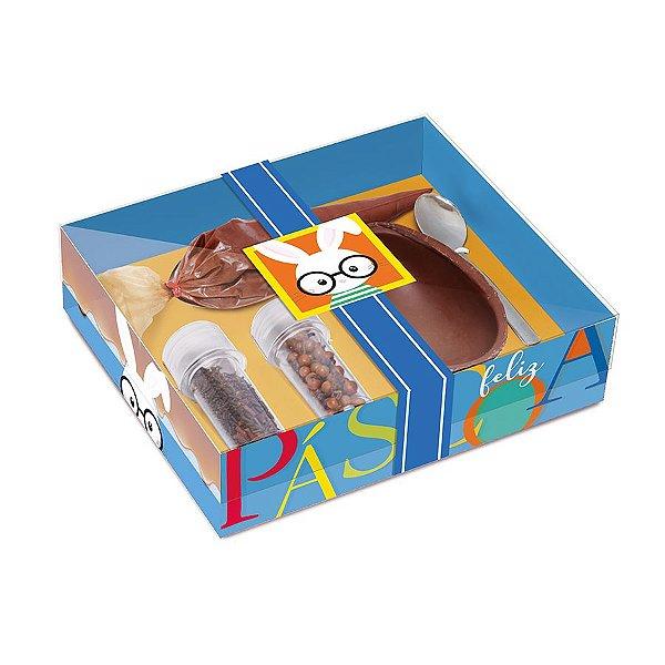Caixa Kit Confeiteiro para Ovo 100g Páscoa Cores Azul - 19,5cmx17cmx5cm - Cromus Páscoa - Rizzo Confeitaria