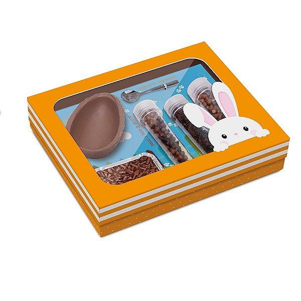 Caixa Kit Confeiteiro para Ovo 150g Páscoa Adoleta - 24cmx19,5cmx5cm - Cromus Páscoa - Rizzo Confeitaria