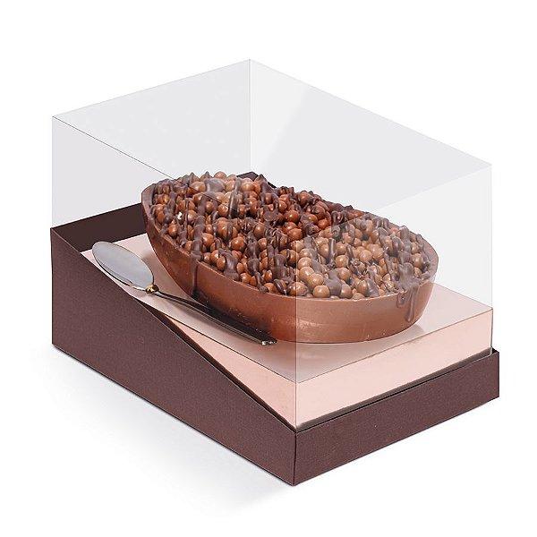 Caixa Meio Ovo de Colher Páscoa Marrom com Rosê Gold - 6 unidades - Cromus Páscoa - Rizzo Confeitaria