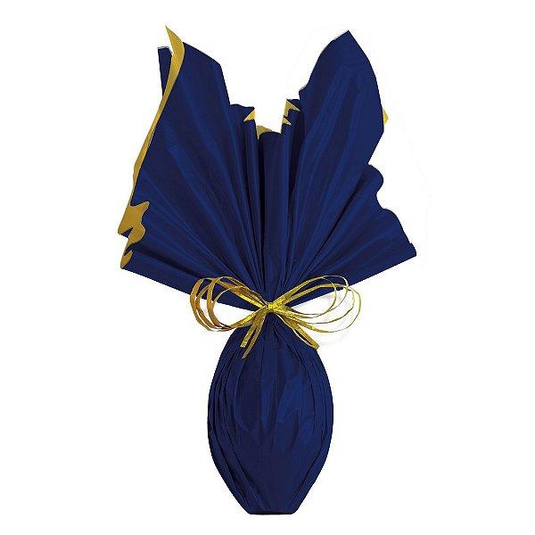 Folha para Embalar Ovos de Páscoa Double Face Acetinado Azul Marinho Ouro 69x89cm - 05 unidades - Cromus Páscoa - Rizzo Confeitaria