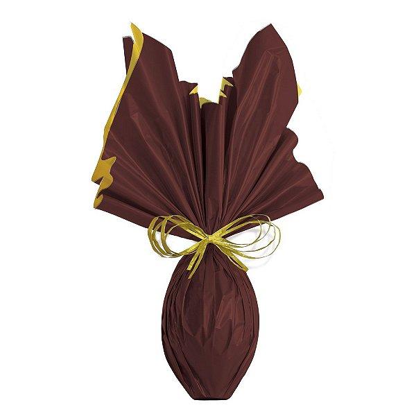 Folha para Embalar Ovos de Páscoa Double Face Acetinado Marrom Ouro 69x89cm - 05 unidades - Cromus Páscoa - Rizzo Confeitaria